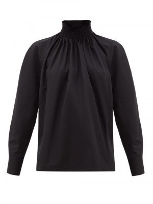 Matchesfashion Prada - High-neck Cotton-poplin Blouse - Womens - Black