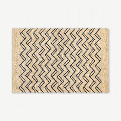 MADE.COM Elian geprinte juten vloerkleed, medium, 140 x 200 cm, lichtbeige en nachtblauw