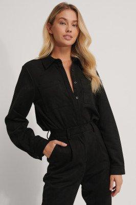 NA-KD Trend NA-KD Trend Imitatiesuède Shirt - Black