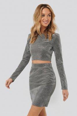 Sara Sieppi x NA-KD Sara Sieppi x NA-KD Glittery Mini Skirt - Silver