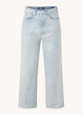Scotch & Soda Scotch & Soda Boyfriend high waist tapered fit cropped jeans met gerafelde zoom