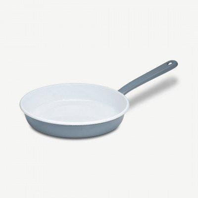 MADE.COM Riess omeletpan van geemailleerd porselein, 22 cm, puur grijs