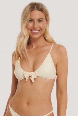 NA-KD Swimwear Tied Front Bikini Top - Offwhite