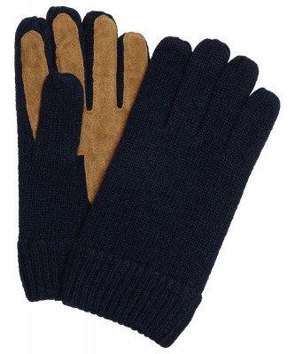 Profuomo Profuomo heren navy gebreide handschoenen met suède
