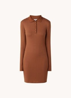 EDITED EDITED Imani mini jurk met ribstructuur en polokraag