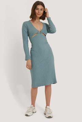 Snøløs x NA-KD Front Detail Midi Dress - Blue