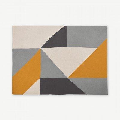 MADE.COM Holden katoengebreide plaid, 130 x 170 cm, geel/grijs