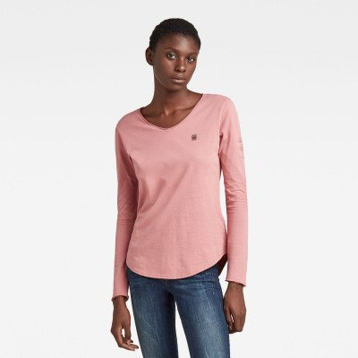 G-Star RAW V-Hals Top Rolled Edge - Roze - Dames