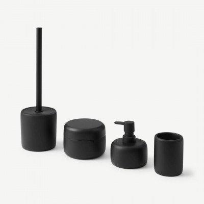 MADE.COM Amari ronde 4-delige badkamerset met toiletborstel, matzwart