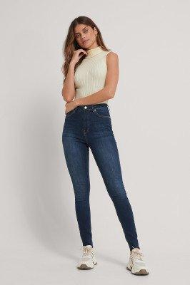 NA-KD Reborn NA-KD Reborn Organisch Skinny Jeans Met Hoge Taille En Ruwe Zoom In Tall - Blue