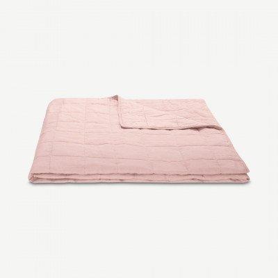 MADE.COM Brisa bedsprei, 100% gewassen linnen, 220 x 225 cm, zachtroze