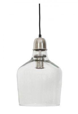 Light en Living Hanglamp 'Sage' Ø23x37 cm glas nikkel satijn