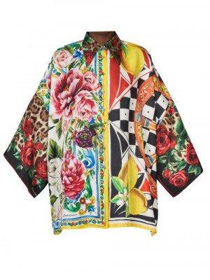 Matchesfashion Dolce & Gabbana - Patchwork Floral-print Silk Blouse - Womens - Multi