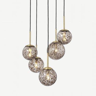 MADE.COM Julia cluster hanglamp met 5 lampen, bruin gevlamd glas en messing
