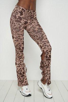 Toni Dreher for nu-in Tie Cuff Split Hem Leggings Pink/Brown