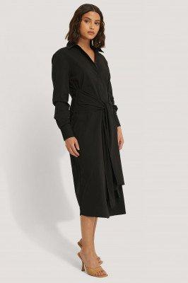 NA-KD Classic NA-KD Classic Tie Front Shirt Dress - Black