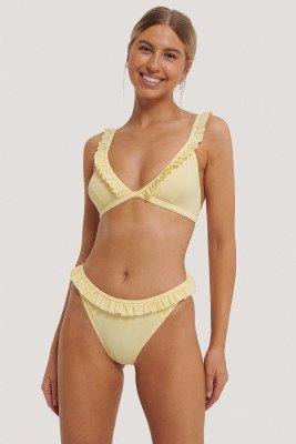 NA-KD Swimwear NA-KD Swimwear Bikinibroekje Met Rucherand - Yellow