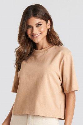 NA-KD Basic Oversized T-Shirt - Beige
