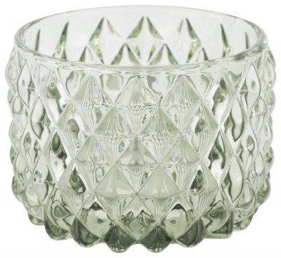 HEMA HEMA Waxinelichthouder Ø8.5x6.5 - Glas Groen (groen)