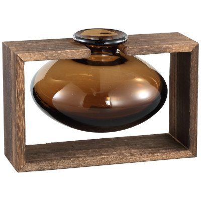 Firawonen.nl Sigrid brown glass vase in wooden stand low