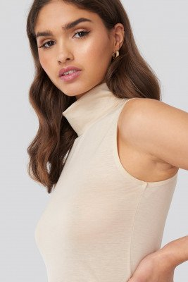 NA-KD Basic Turtle Neck Sleeveless Ribbed Jersey Top - Beige