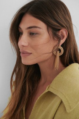 NA-KD Accessories Asymmetric Cage Earrings - Gold