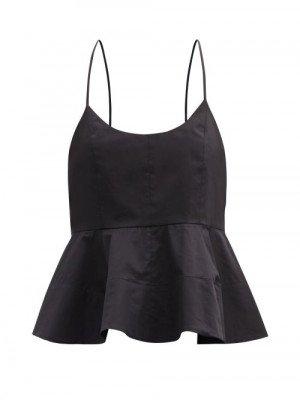 Matchesfashion Tibi - Peplum-hem Organic Cotton-poplin Top - Womens - Black