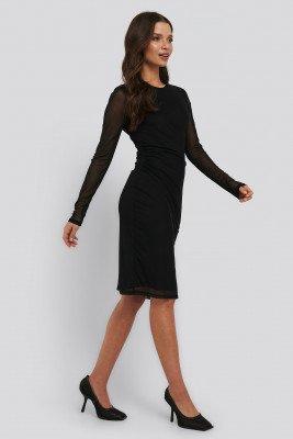 NA-KD NA-KD Gathered Waist Mesh Dress - Black