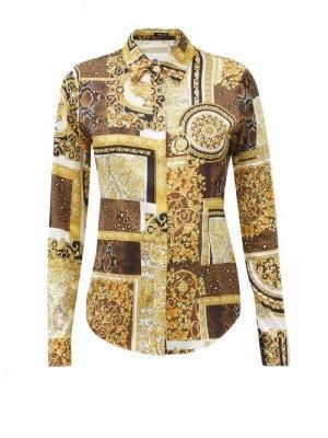 Matchesfashion Versace - Patchwork Baroque-print Silk-satin Shirt - Womens - Yellow Multi