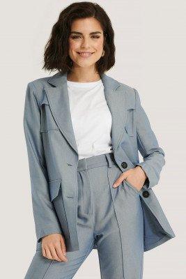 NA-KD Trend NA-KD Trend Blazer Met Dubbele Zakken - Blue