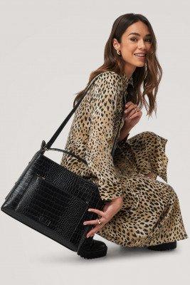 NA-KD Accessories NA-KD Accessories Big Croc Shopper Bag - Black