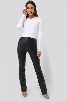 NA-KD NA-KD Flared PU Pants - Black