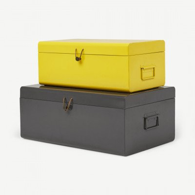 MADE.COM Daven set van 2 koffers, geel en houtskoolgrijs