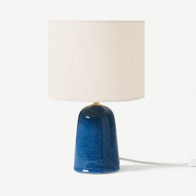 MADE.COM Nooby nachtlamp van keramiek met reactief glazuur, blauw