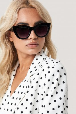 NA-KD Accessories Chunky Pointy Cat Eye Sunglasses - Black