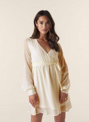 NA-KD NA-KD Chiffon Wrap Mini Dress - Beige
