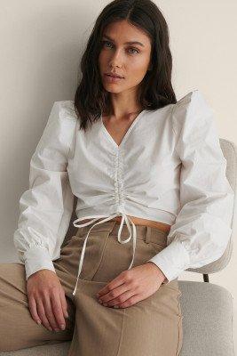 NA-KD NA-KD Cotton Drawstring Top - White