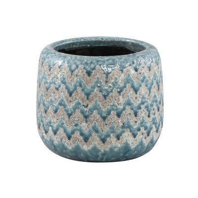 Ptmd jasper blauw keramieke pot golvend patroon