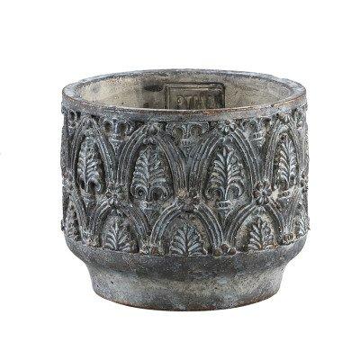 Firawonen.nl Ptmd jennis grijs cement pot antiek patroon rond s