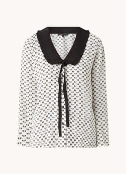 Maje Maje Castel blouse met print en strikkraag