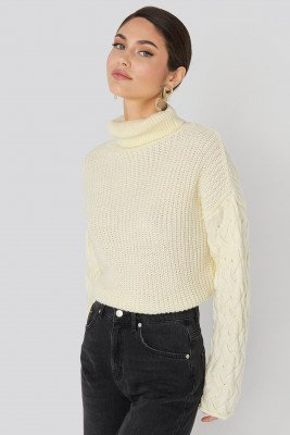 NA-KD NA-KD Cable Sleeve High Neck Sweater - White