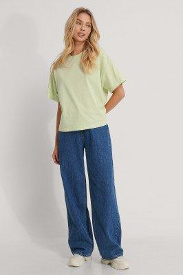 NA-KD Reborn Organisch Oversized T-shirt Met 3/4 Mouwen - Green
