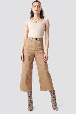 NA-KD NA-KD Workwear Wide Pants - Beige
