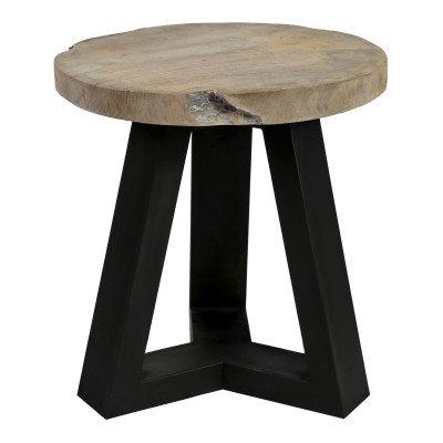 Firawonen.nl PTMD Rixx teak wooden stool iron base round