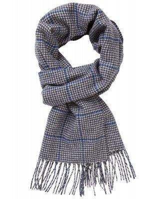 Profuomo Profuomo heren blauw geruite sjaal