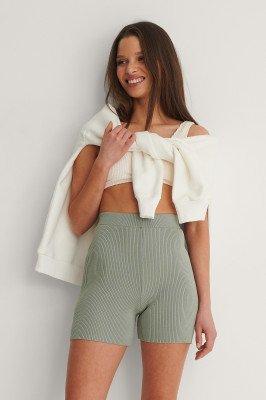 NA-KD Trend NA-KD Trend Ribgebreide Fitted Shorts - Green