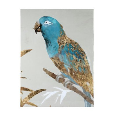Firawonen.nl Keegan white blue shiny painting parrot