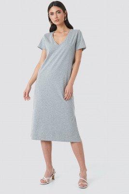 NA-KD Basic NA-KD Basic V-neck Jersey Dress - Grey