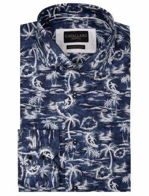 Cavallaro Napoli Cavallaro Napoli Heren Jeans - Cavallaro Napoli Heren Korte Broek - Renato Overhemd - Donkerblauw - Donkerblauw