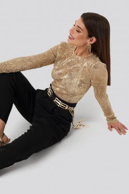 NA-KD Party Sequin Round Neck Top - Gold
